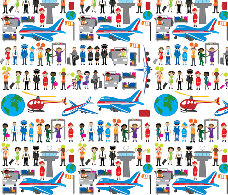 People at the airport decal fabric by upcyclepatch on Spoonflower - custom fabric
