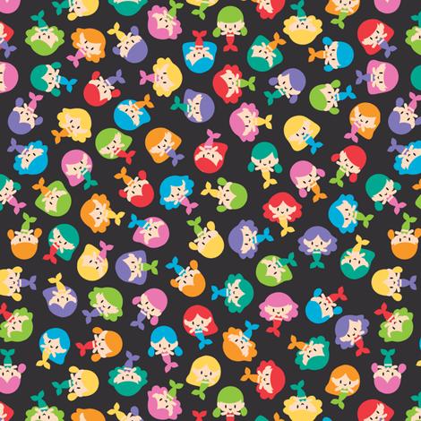 Dark ditsy mermaids fabric by petitspixels on Spoonflower - custom fabric