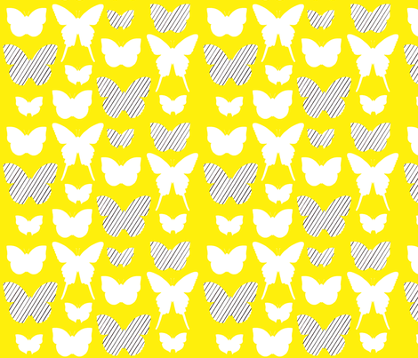 butterfly1_17jan2012galerystripesw_150dpiYELLOW fabric by cristinapires on Spoonflower - custom fabric