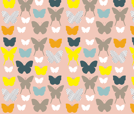 butterfly1_17jan2012TILE150dpi_pinktanmulti fabric by cristinapires on Spoonflower - custom fabric
