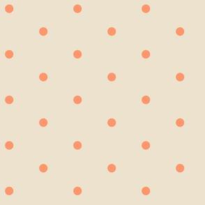 Wider Tangerine Dots on Cream