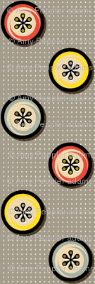 Footnote Flower Buttons || geometric circles midcentury modern flowers polka dots