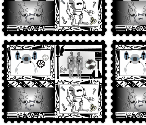 ROBOT STAMPS fabric by bluevelvet on Spoonflower - custom fabric