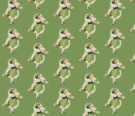 Girl With Green Roses fabric by engravogirl on Spoonflower - custom fabric
