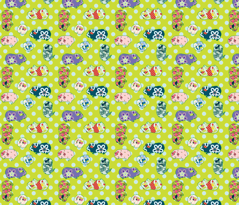 Guinea Pig Applique – Quilting Scale - Green fabric by anntuck on Spoonflower - custom fabric