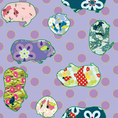 Guinea Pig Applique – Quilting Scale - Purple