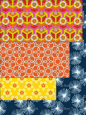 Chair Pillows + Lumbar - Orange Geometric