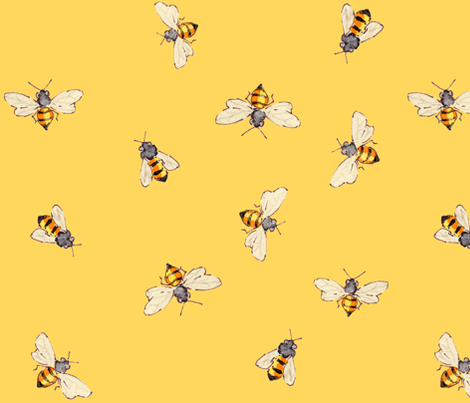 Bees with Sunny Yellow - Bigger fabric by anntuck on Spoonflower - custom fabric