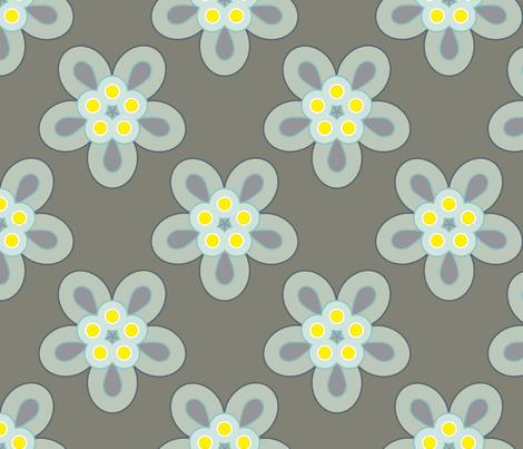 Geometric Flowers - Gray fabric by anntuck on Spoonflower - custom fabric