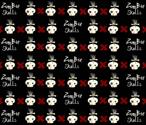 zombie skulls X fabric by paragonstudios on Spoonflower - custom fabric