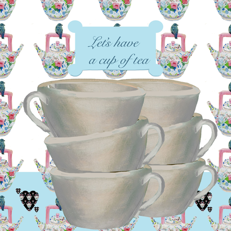 Let's have a cup of tea fabric by karenharveycox on Spoonflower - custom fabric