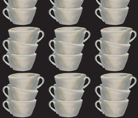 A stack of cups on black fabric by karenharveycox on Spoonflower - custom fabric