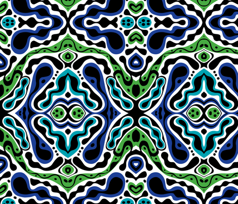 Beat goes On - green blue fabric by andibird on Spoonflower - custom fabric