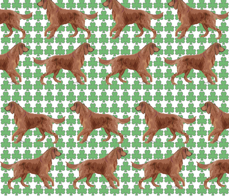 Irish Setter with Shamrocks fabric by dogdaze_ on Spoonflower - custom fabric