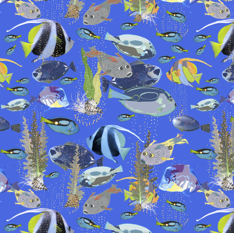 Fish in the Blue, Blue Water! fabric by petals_fair_(peggy_brown) on Spoonflower - custom fabric