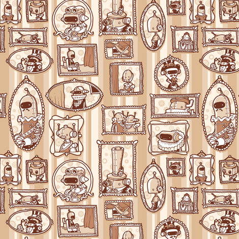 victorian robots fabric by kukubee on Spoonflower - custom fabric