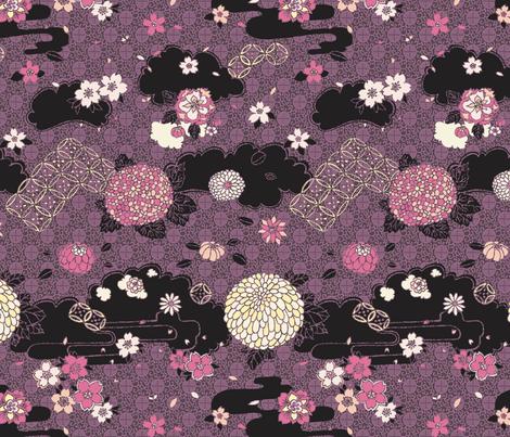 Kimono Flowers Pink + Purple on Black fabric by teja_jamilla on Spoonflower - custom fabric