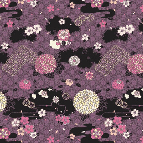Kimono Flowers Pink + Purple on Black