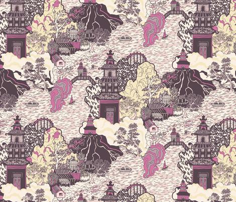 Oriental Pagodas fabric by teja_jamilla on Spoonflower - custom fabric