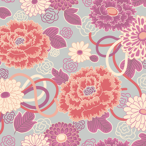 Peony Clouds  fabric by teja_jamilla on Spoonflower - custom fabric
