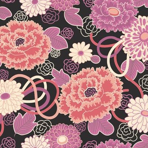 Peony Clouds Black Japanese Floral