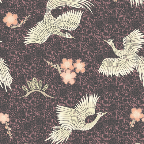 White Cranes black + purple fabric by teja_jamilla on Spoonflower - custom fabric
