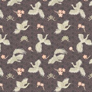 White Cranes black + purple