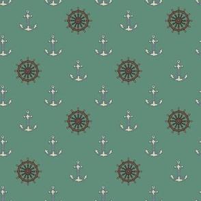 Ships Anchors & Wheels Sea Green