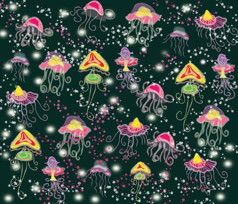 Sparkling jellyfish fabric by silviana on Spoonflower - custom fabric