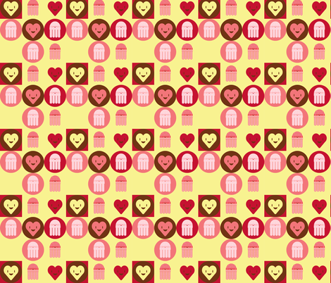 Arnold in Love - Rasperries & Buttercream fabric by giddystuff on Spoonflower - custom fabric