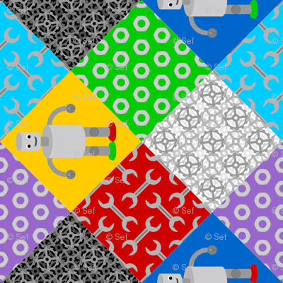 retro robot cheater quilt