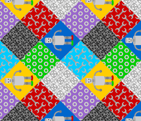 retro robot cheater quilt fabric by sef on Spoonflower - custom fabric
