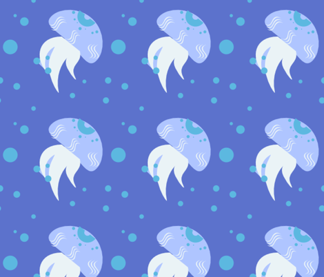 jelly fish with bubbles fabric by raasma on Spoonflower - custom fabric