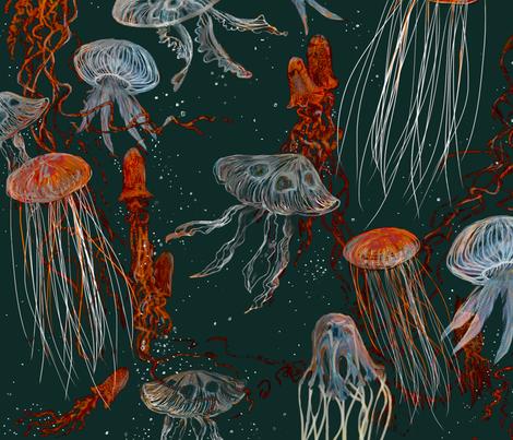 Deep Sea Jellyfish 2250 fabric by wren_leyland on Spoonflower - custom fabric