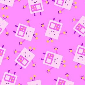 Pink Baby Robot Pattern - Large