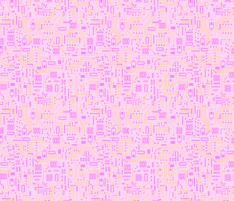 Pink Circuit - Large fabric by mysteek on Spoonflower - custom fabric