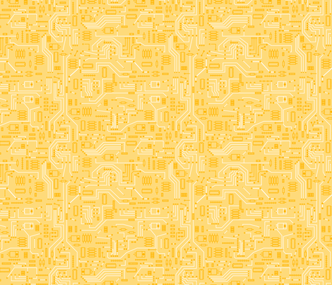 Yellow Circuit - Large fabric by mysteek on Spoonflower - custom fabric