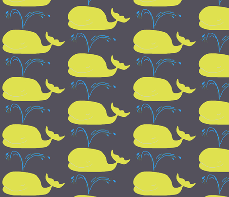 Whales - charcoal yellow  fabric by bettieblue_designs on Spoonflower - custom fabric