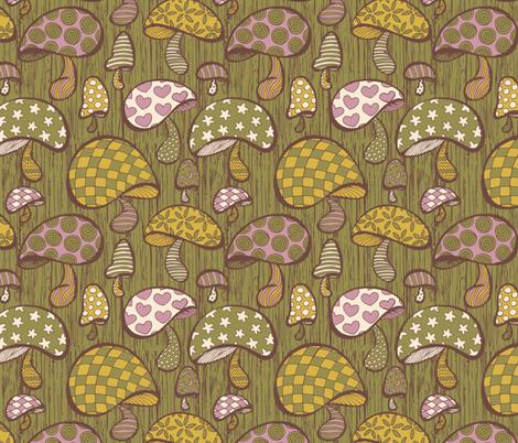 Wonderland Mushrooms - Green fabric by noaleco on Spoonflower - custom fabric