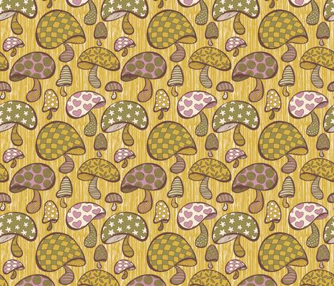 Wonderland Mushrooms - Yellow fabric by noaleco on Spoonflower - custom fabric