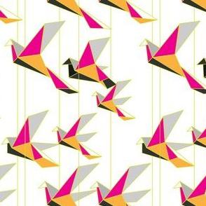 Paper cranes chartreuse