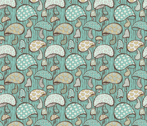 Wonderland Mushrooms - Blue fabric by noaleco on Spoonflower - custom fabric