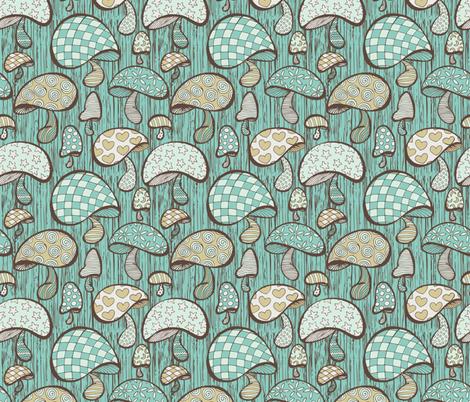 Wonderland Mushrooms - Blue fabric by noaleco on Spoonflower - custom fabric
