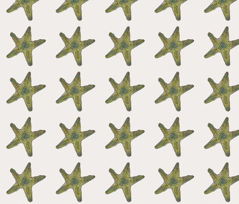 Green Star on cream fabric by wiccked on Spoonflower - custom fabric