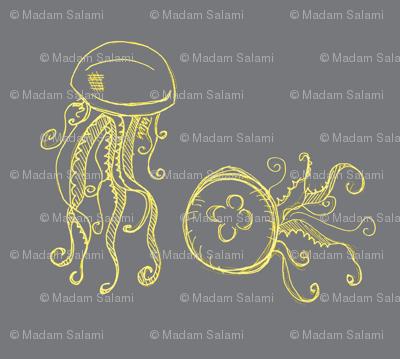 jellyfish-dark grey and yellows