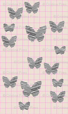 stripe butterfly pink tan grid