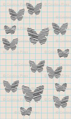 stripe butterfly blue tan grid