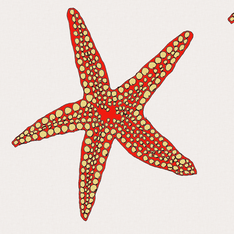 Red Star on cream fabric by wiccked on Spoonflower - custom fabric