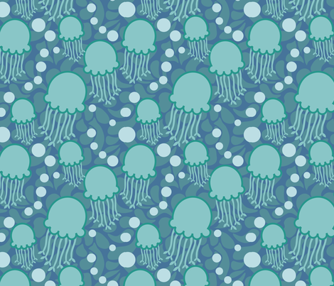 jellyblue fabric by lilliblomma on Spoonflower - custom fabric