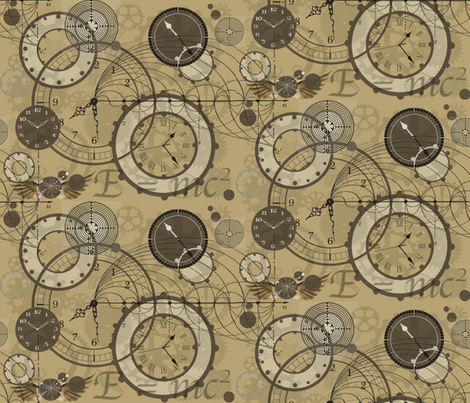 time Is A Man Made Concept Sepia fabric by poetryqn on Spoonflower - custom fabric